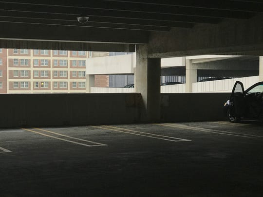 The eighth floor (seen here) of the First Street Parking deck was the scene of Eminem's freestyle rap tearing into President Donald Trump, broadcast on Tuesday night's BET Hip Hop Awards.