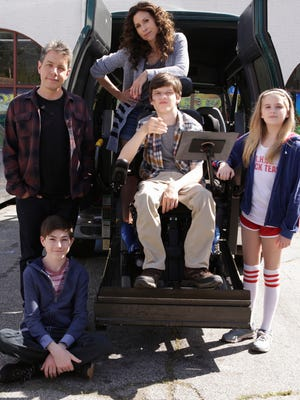 John Ross Bowie, Mason Cook, Minnie Driver, Micah Fowler, and Kyla Kenedy in ABC's 'Speechless.'