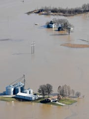 Flooded farms in Vanderburgh County as the flooding