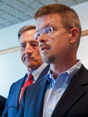 Speaker of the House Shap Smith, right, joined Gov. Peter Shumlin at a news conference to discuss the just-anounced 2014 closure of the Vermont Yankee nuclear power plant at the governor's office in Montpelier on Aug. 27, 2013.