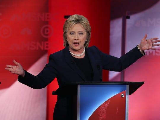 Hillary Clinton speaks at a Democratic debate in Durham,