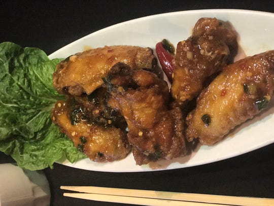 The hot braised wings from Mandarin Grill and Sushi