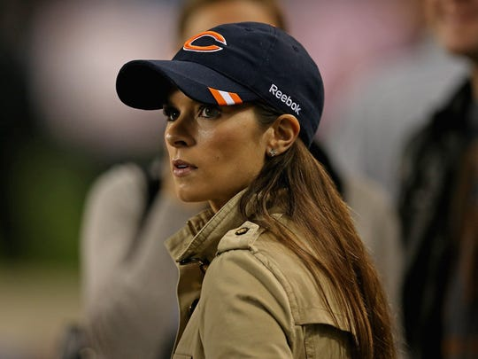 A longtime Chicago Bears fan, Danica Patrick takes in a Bears-Detroit Lions game at Soldier Field in 2012.