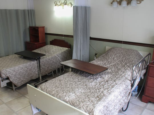A double bedroom is shown at Shore Meadows Rehab in Toms River.