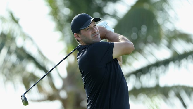Former NFL Player and amateur Tony Romo plays his shot from the third tee during round one of the Corales Puntacana Resort & Club Championship.