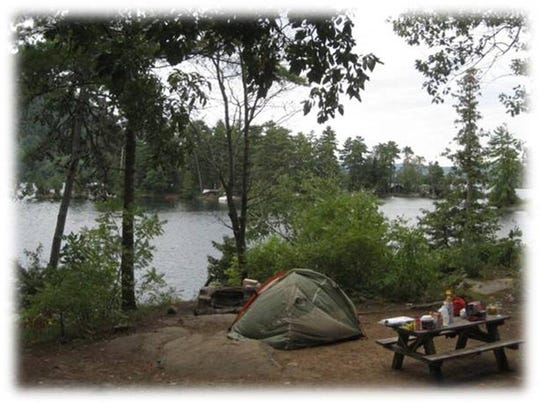 An island campsite in Lake George offers a peaceful respite.