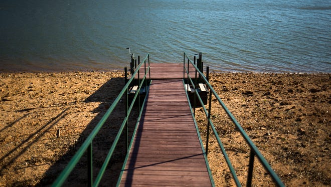 A dock sits on dry land on Lake Hartwell.