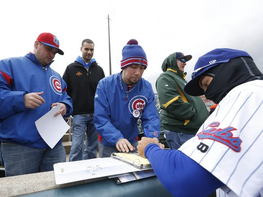 Around Principal Park, Albert Almora Jr. has already become a fan favorite and is often signing autographs.