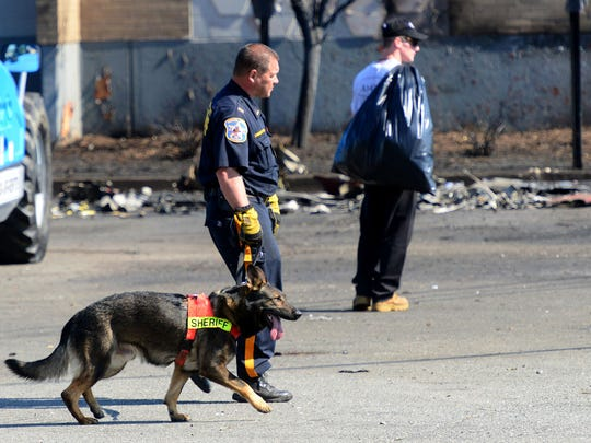 A Bergen County Sheriff's Office canine cadaver unit scours the parking lot at Manhattan Door Company in Carlstadt on Wednesday morning, two days after the plane crash.