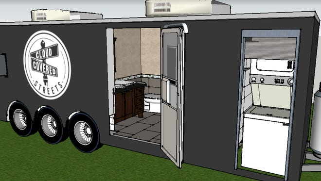 A prototype of a shower trailer to serve the homeless community. Cloud Covered Streets is trying to raise enough money to fund 25 trailers across the country by 2025.