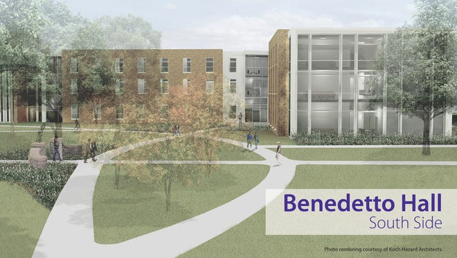 The University of Sioux Falls broke ground Friday on a new residence hall named after the college's longest-serving president, Mark Benedetto.