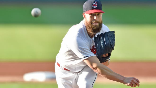 Indians starter Corey Kluber delivers a pitch in the first inning against the Brewers on Tuesday.