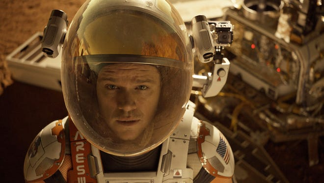 "This photo released by 20th Century Fox shows Matt Damon in a scene from the film, ""The Martian.""  (Aidan Monaghan/20th Century Fox via AP)"
