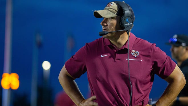 Rouse head coach Joshua Mann led the Raiders to a 49-42 win over East View Thursday.