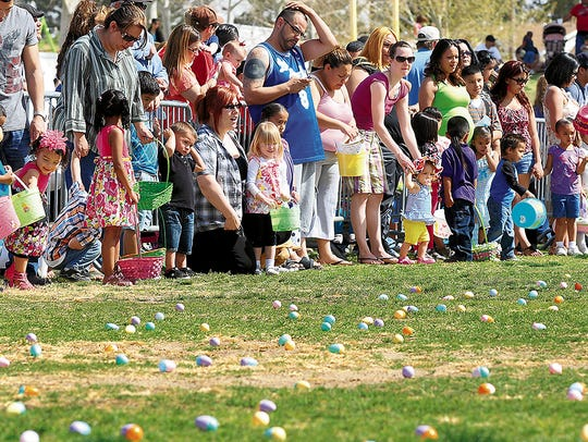 Kids get ready to gather eggs at a recent SpringFest
