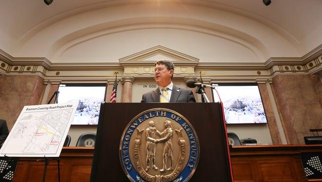 House Speaker Greg Stumbo speaks to the media during a press conference in Frankfort on Wednesday.October 5, 2016