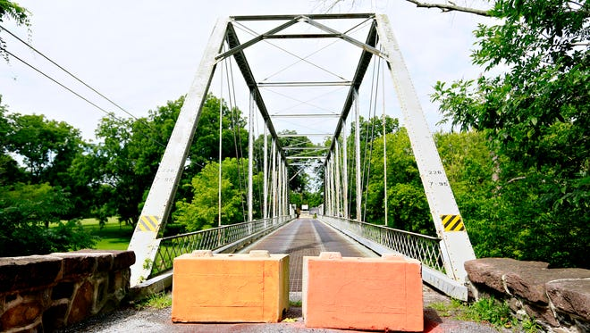 The east end of York County Bridge 226 on Hull Drive over Bermudian Creek in Washington Township, Thursday, Aug. 3, 2017. The bridge was recently closed for emergency repairs. Dawn J. Sagert photo