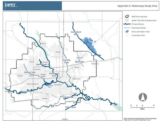 A map illustrating the river segments being studied for recreation opportunities.