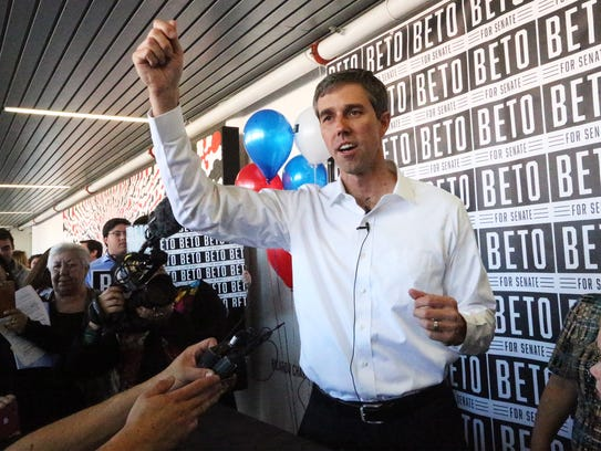 U.S. Rep. Beto O'Rourke speaks to the news media after