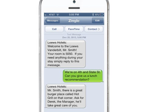 Hotel texting concierge service is the new thing.