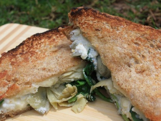 Spinach and Artichoke Grilled Cheese sandwich.