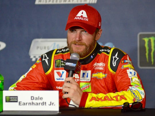 Dale Earnhardt Jr., at Michigan International Speedway in 2017, nows works as an analyst for NBC Sports.