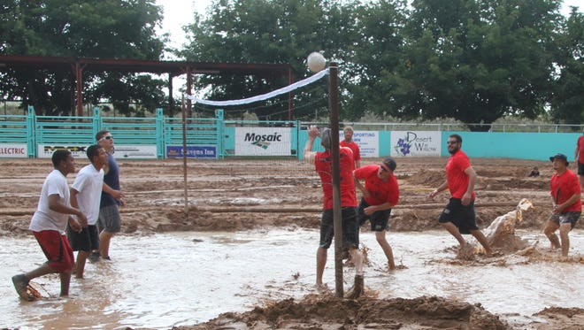 A mud volleyball tournament attracted many out to Saturday's fall festival at the Eddy County  Sheriff's Posse.
