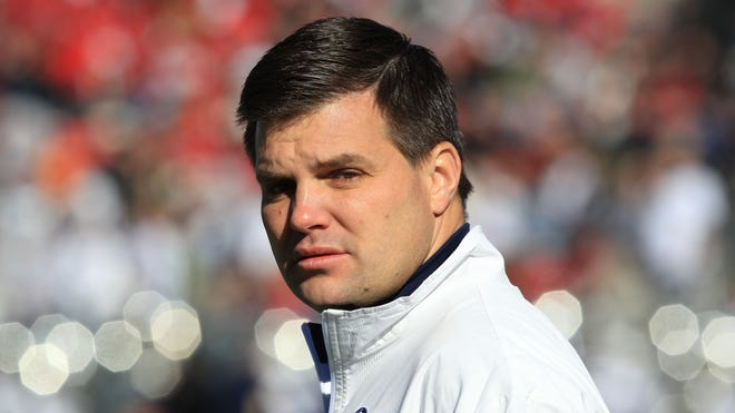 Former Penn State Nittany Lions quarterbacks coach Jay Paterno on the field prior to the game against the Houston Cougars at the Cotton Bowl.