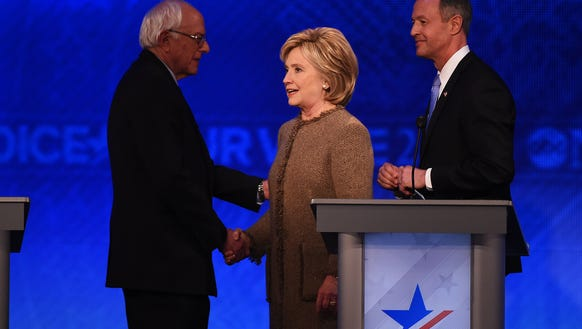 Bernie Sanders, Hillary Clinton and Martin O'Malley