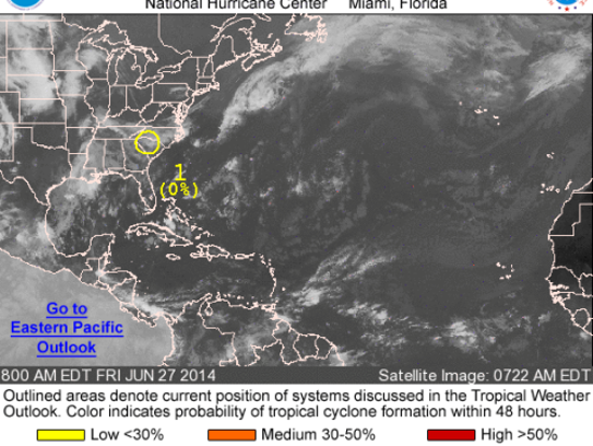 Low pressure over South Carolina has a 20 percent chance of tropical development in the next five days (Source: National Hurricane Center)