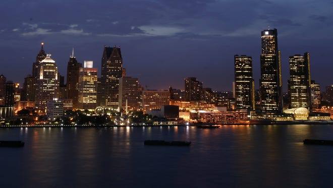 The Detroit skyline in 2004. The photograph was taken from the roof of the Windsor Hilton.