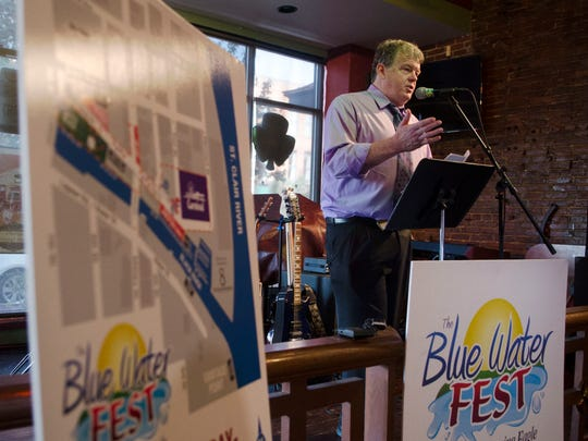 Jonathan Witz talks about the line up and the new things that are being offered as part of the Blue Water Fest during a press conference Wednesday, May 25 at Lynch's Irish Tavern.