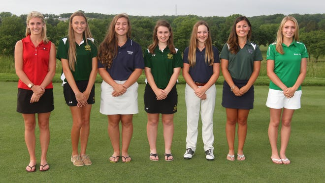 Left to right, Sarah Vallee, Jackson Memorial, Ariannna Palmeri, Red Bank Catholic, Michelle Krameisen, Ranney School, golfer of the year, Nicole Totland, Red Bank Catholic, Micaela Crines, Wall, Emily Mills, Colts Neck, Chrissie Wojciechowski, Brick, the 2014 All-Shore girls golf team  at Jumping Brook Country Club. Tuesday June 7, 2014, Neptune. Photo by Robert Ward