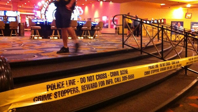 Las Vegas police cordoned off part of Bally's Hotel-Casino on the Las Vegas Strip on Oct. 21, 2013, after a gunman opened fire around dawn at an after-hour club inside. One patron died and two security guards were wounded.