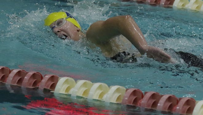Kylee Theiler of Tomahawk swims the 500 freestyle during the WIAA Division 2 state girls swimming and diving meet Friday at the UW Natatorium in Madison.