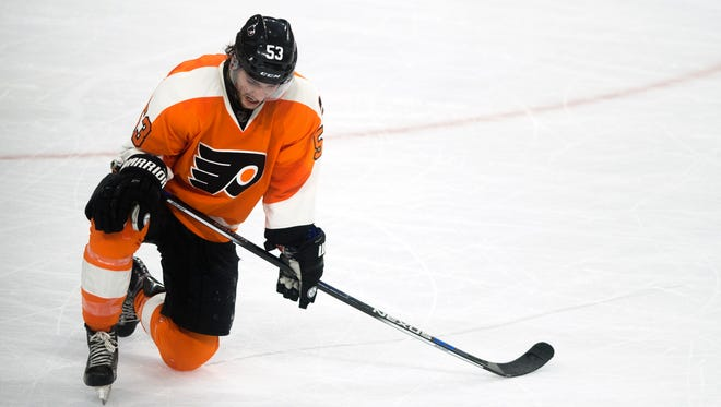 Flyers' Shayne Gostisbehere takes a knee on the ice as the third period closes against Washington Sunday, April 24 in Philadelphia.. Flyers lost 1-0, ending their playoff run.