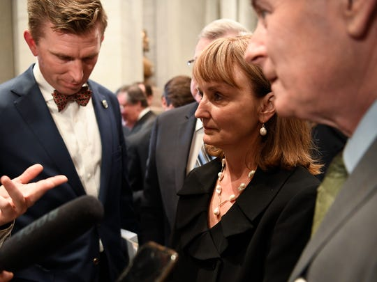 Republican representatives Ryan Williams, Beth Harrell and Glen Casada respond to Governor Bill Haslam's State of the State address with the media at the Tennessee State Capitol Monday, Jan. 29, 2018 in Nashville, Tenn.