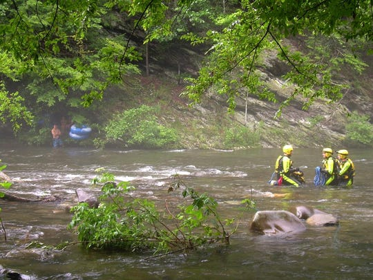 In 2013, a group of six tubers — including four adults, a 6-year old and a 2-year old — were rescued after they were stranded on the opposite side of a river in the Great Smoky Mountains National Park.