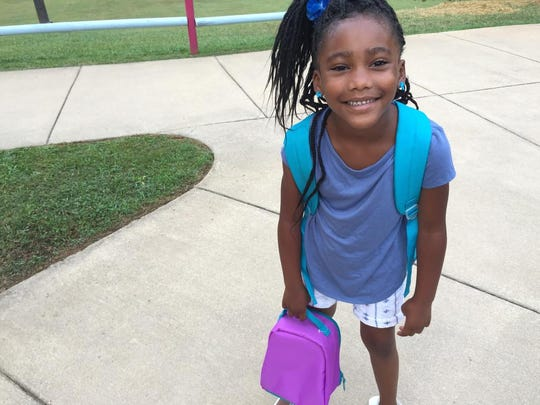 "Brisiah Dixon Fate was ready for her first day of kindergarten at Hall Fletcher Elementary. ""She's been ready to carry that lunch box,"" joked her mom Brittni Fate."