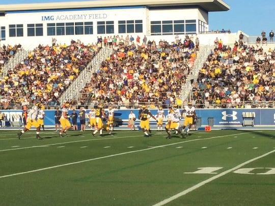 Michigan practices at IMG Academy in Bradenton, Fla in 2016.