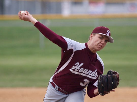 Shippensburg's Ethan Stouffer delivers a pitch during a Mid Penn Colonial Division game against Greencastle-Antrim on Wednesday, April 5, 2017 in Greencastle. The Blue Devils won 6-4.