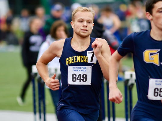 Kaleb Hurley of Greencastle-Antrim competes in the