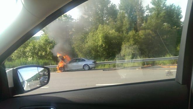 This vehicle fire closed the Route 9 exit on I-84 this morning.