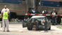 A train collided into a car in Riverside on Tuesday.