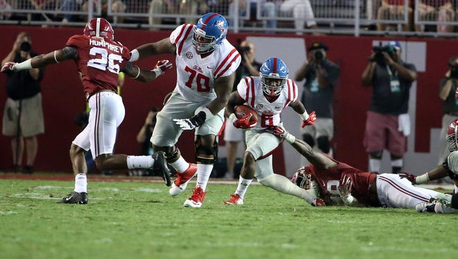 Ole Miss redshirt freshman Jordan Sims (70) has started the Rebels' past two games after losing about 50 pounds over the past year.