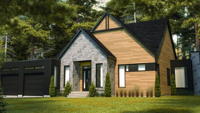 Clean lines and mixed siding give this home design modern curb appeal.