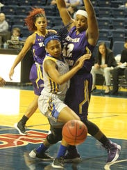 Angelo State University senior Keanna Kelly (left)