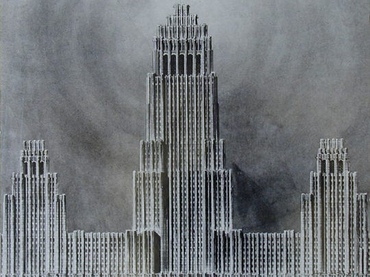 The Fisher Building was originally supposed to sport three towers. The existing tower is at far right in this rendering by Albert Kahn.