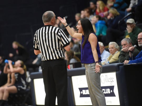 Lebanon Valley head coach Amy Sokaitis disputes a late fourth-quarter call    during LVC's 58-54 win vs. Messiah on Wednesday night.