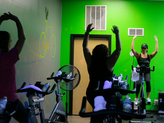 Nancy Siberry of Manahawkin, spin instructor, teaches
